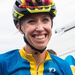 Lisa Nordén efter linjeloppet i världscuptävlingen i cykel i augusti i Vårgårda.