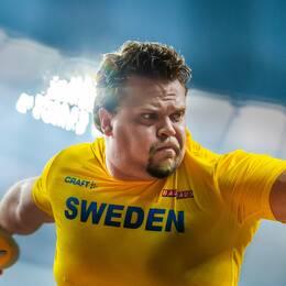 Daniel Ståhl under diskusfinalen i VM-finalen i Doha.