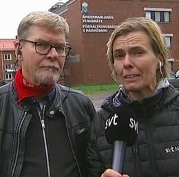 SVTs utsända Rolf Lunneborg och Sara Leijman.