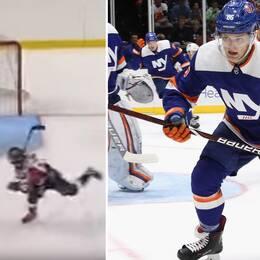 Tio år efter konstmålet – i kväll gjorde Oliver Wahlstrom NHL-debut.