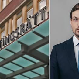 Exteriör Sundsvalls tingsrätt och advokat Viktor Banke