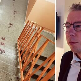 Blodspår i den mördades trappuppgång och kammaråklagare Jens Göransson