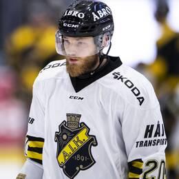 AIK:s Sam Marklund deppar under ishockeymatchen i Hockeyallsvenskan mellan Västerås och AIK den 20 september 2019 i Västerås.