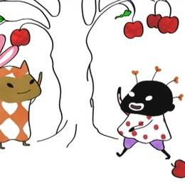 """Bilder ur barnfilmen """"Liten skär och alla små brokiga"""", som har väckt stor debatt kring rasism, på grund av karaktären Lilla Hjärtat, till höger i bild."""