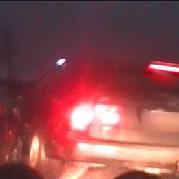En 64 minuter lång biljakt på en knarkpåverkad psykisk sjuk 23-åring slutade med att flyktbilen krockade med en civil polisbil.