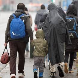 Flyktingar till fots i en storstad.