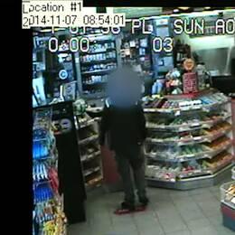 Övervakningsbilder från en bensinstation.