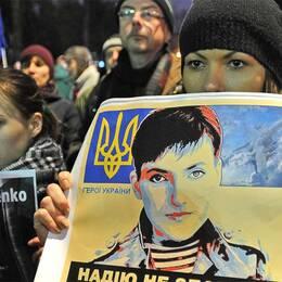 Demonstration för Nadezjda Savtjenko, ukrainsk pilot i rysk fångenskap.