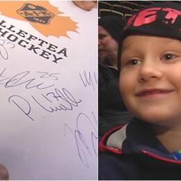 Robin Lilja samlar autografer.