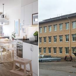 En interiörbild från ett kök i en av lägenheterna och en exteriör av huset som byggs om.
