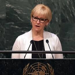 Margot Wallström i FN:s generalförsamling vid ett tidigare tillfälle.