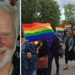 Kyrkopolitikern Bruno Edgarsson i Ljungby och bild på pridetåget genom Växjö