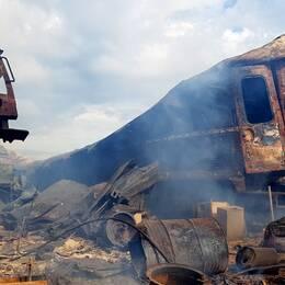 Utbränd tågvagn