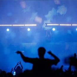 Bild på Dan Eliasson med ett armand från kampanjen och en bild från en festival.