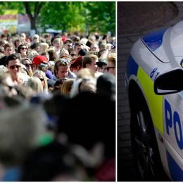 Publik och polisbil