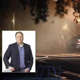 Jörgen Olsson, vd på Tunabyggen, säger att bostadsbolaget ökar bevakningen i de branddrabbade områdena.