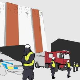 polis bevakar brandkåren eskorterar