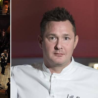 Till vänster hedersgästerna anländer till förra årets Nobelmiddag. Till höger en bild av Tom Sjöstedt i vit kockskjorta.