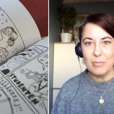 """Elin Lucassi har dokumenterat ett års coronatillvaro och omvandlat det till serieromanen """"Karantänsdagboken""""."""