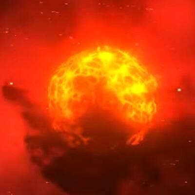 Till vänster är en illustration av Betelgeuse och till en höger från VLT-teleskopet i Chile.