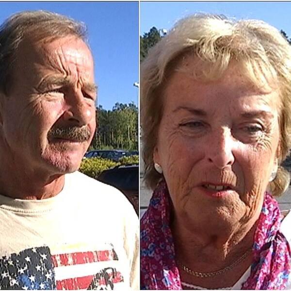Man med mustasch, äldre dam, medelålders kvinna utomhus i Östersund