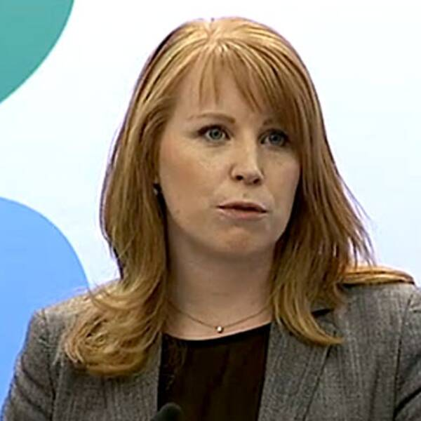 Annie Lööf vid dagens presskonferens
