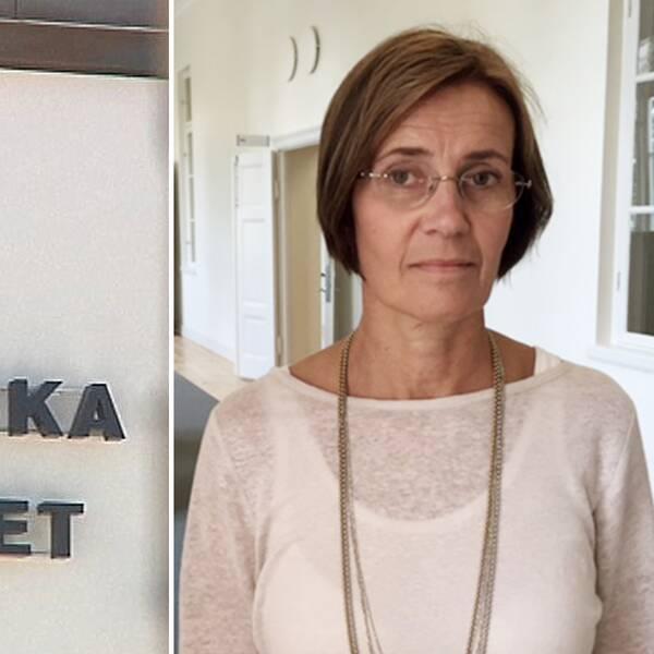 Till vänster fasaden på Akademiska sjukhuset med sjukhusets logotyp. Till höger porträttbild på sammanbiten Eva Anderling, projektledare för Framtidens Akademiska.
