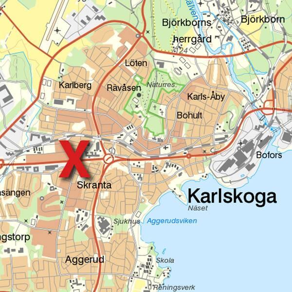Kartbild över Karlskoga