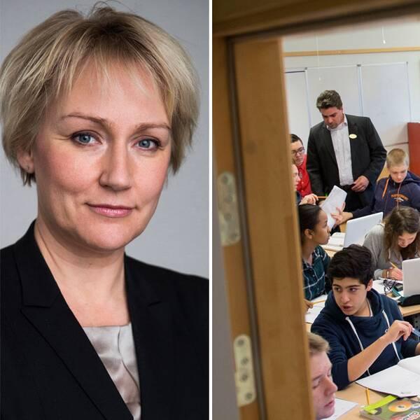 Minister för högre utbildning och forskning (S) Helene Hellmark Knutsson och En niondeklass under en mattelektion på Trädgårdstadsskolan i Tullinge.