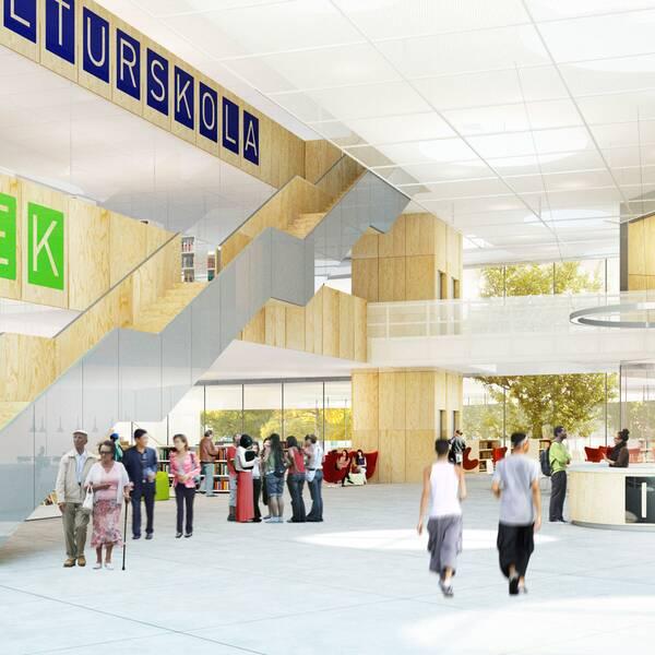 Kulturskolan och biblioteket flyttar in.