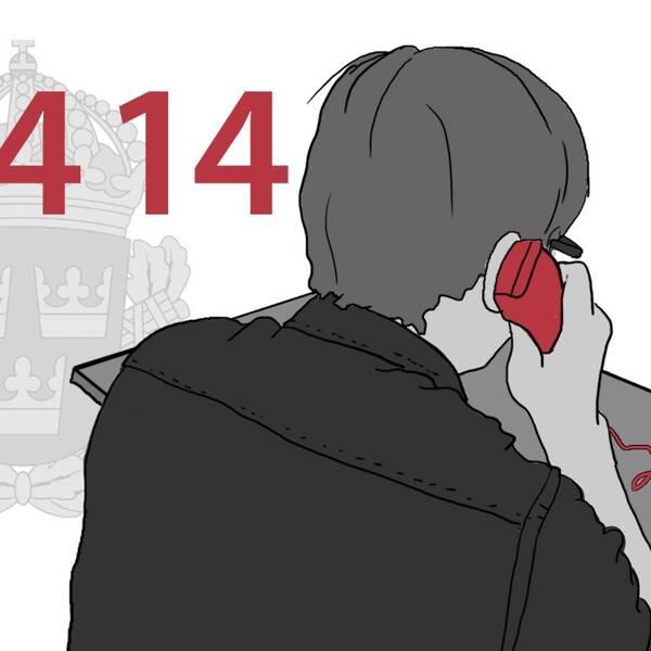 Grafik som visar en person som sitter i telefonkö