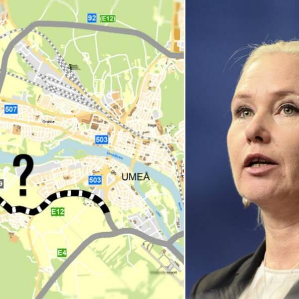 Infrastrukturminister Anna Johansson och kartbild på planerna för Västra länken