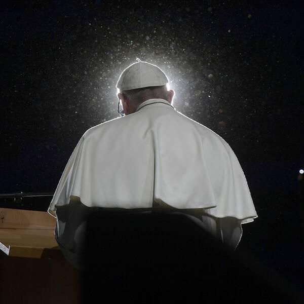 Påve Franciskus under till tal vid det ekumeniska evenemanget i Malmö arena.