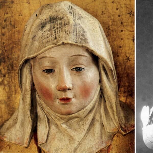 Staty föreställande Heliga Birgitta i sitt vita hustrudok, finns i Skellefteå kyrka och Sybil Thorndyke som Jeanne D'Arc i George Bernard Shaws pjäs från 1924