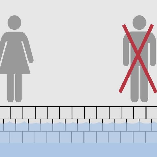 Separata könstider, badhus, överkryssad kille