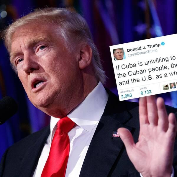Donald Trump, infälld i bild en av hans tweets.