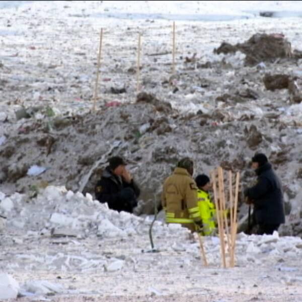 Räddningsmanskap efter postflygolycka norrbottensfjällen januari 2016