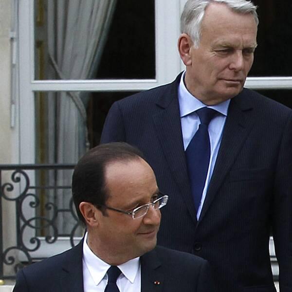 Premiärminister Jean-Marc Ayrault och president François Hollande