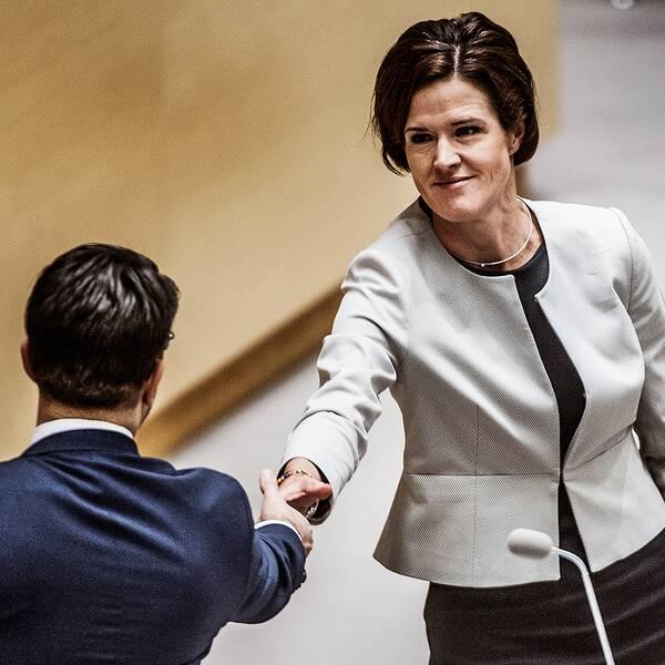 Jimmie Åkesson (SD) och Anna Kinberg Batra (M)