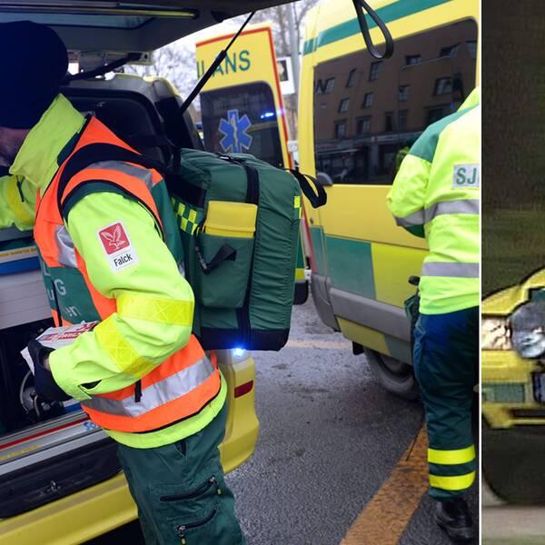 Ambulans och ambulanspersonal med akutväska