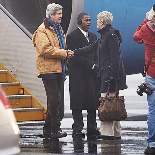USA:s utrikesminister John Kerry anländer till Kiruna.