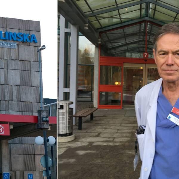 Delad bild, entrén till KS Huddinge och professor Olle Ringdén.