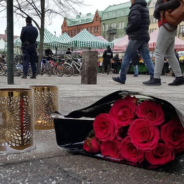 Mordplatsen på Möllevångstorget måndag