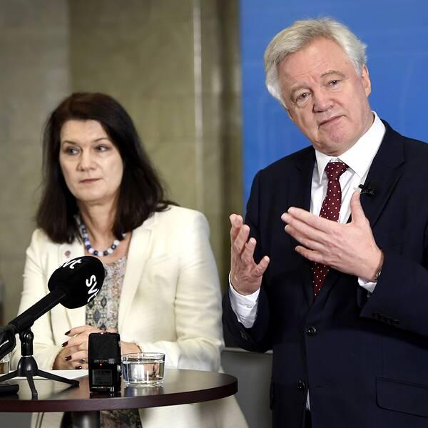 Storbritanniens brexit-minister David Davis träffade Sveriges EU-minister Ann Linde (S) i Stockholm under tisdagen.