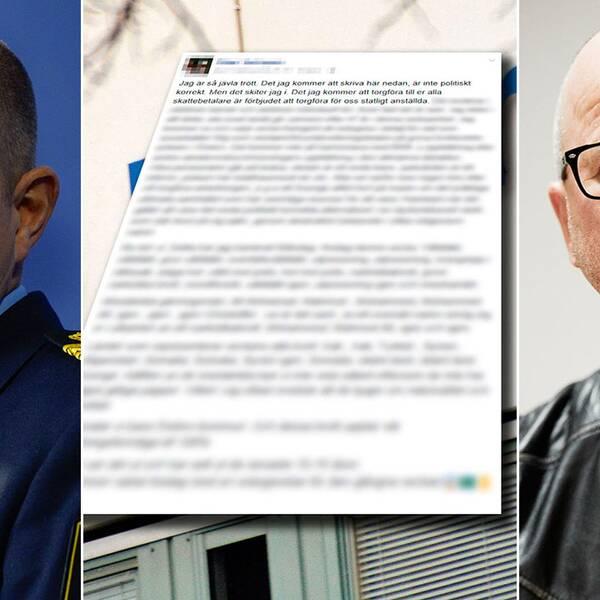 Rikspolischef Dan Eliasson, ett av Peter Springares inlägg och en bild på Peter Springare