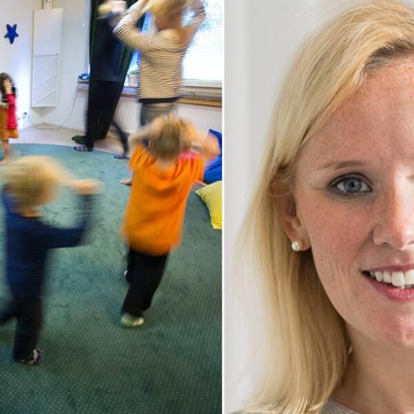 Tvådelad-bild. Till vänster förskolebarn som leker och till höger Caroline Hoffstedt (S)