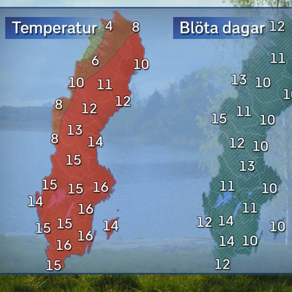 Till vänster: Dagstemperatur en normal majdag i mitten av månaden. Till höger: Normalt antal dagar med nederbörd under en normal majmånad. Referensår: 1961-1990