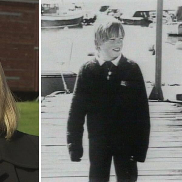 Porträtt Anna-Clara Asplund och bild på försvunne pojken Johan.
