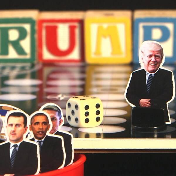 bild på Fia med knuff och Donald trump som spelfigur