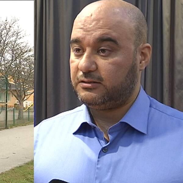 En exteriörbild på Alsalamskolan i Örebro och skolans rektor Shahin Mahmod